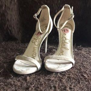 Nude suede Sam Edelman high heels